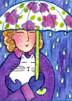 RAINDROPS and KITTEN No. 2... Cat Lady With Umbrella... Original ACEO art miniature watercolor painting