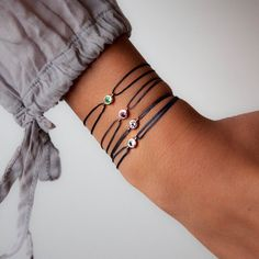 Gemstone bezel Bracelets by Vivien Frank Designs in 14k solid gold choose your gemstone from Tsavorite, Aquamarine, Tourmaline or Amertine.