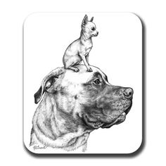 Hey, I found this really awesome Etsy listing at https://www.etsy.com/listing/32853883/mastiff-and-chihuahua-dog-art-mouse-pad