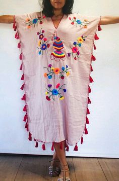 Salmon Colored Hand Embroidered Woman's Festival Long Kaftan/ Poncho/ Maxi Dress with Fringe. Very Light and Comfortable - Salmon Colored Hand Embroidered Woman& Festival Long Kaftan/ Poncho/ Maxi Dress with Fringe. Abaya Mode, Diy Fashion, Fashion Dresses, Gothic Fashion, Bohemian Style, Boho, Estilo Hippie, Long Kaftan, Mexican Dresses