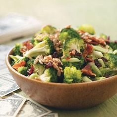 "Crunchy Broccoli Salad Recipe **Need to ""clean it up* replace canola oil with olive and substitute the sugar."