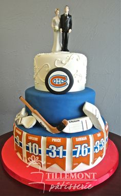 Legends of the Montreal Canadiens Wedding Cake Cool birthday cake if topper taken off Hockey Birthday Cake, Hockey Birthday Parties, Cool Birthday Cakes, Hockey Party, Montreal Canadiens, Mtl Canadiens, Hockey Wedding, Wedding Shit, Wedding Ideas