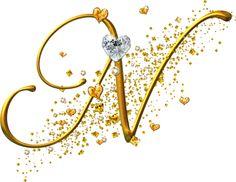 View all images at Alfabeto dourado folder N Letter Design, Alphabet Design, Fancy Letters, Monogram Letters, Creative Lettering, Lettering Design, Tattoo Fonts Cursive, Penmanship, Stylish Alphabets