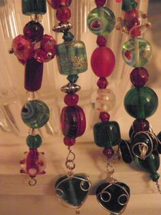 Red and Green Christmas Dangling Ornaments Set of by AnitaDeanSews