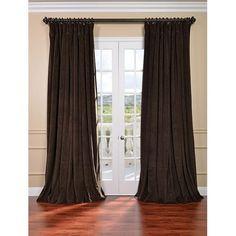 Signature Java Double Wide Velvet Blackout Pole Pocket Single Panel Curtain, 100 X 120