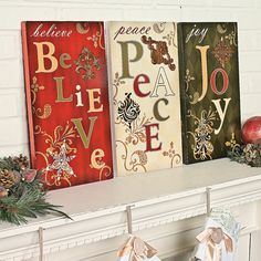 Holiday Wall Signs - OrientalTrading.com  I bet I could make something similar to these.  Could even do different words like Faith Hope and Love or Live Laugh and Love.  Lots of options.