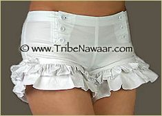 Tribe Nawaar Wild Card Limited Edition White Retro Hotpants Bloomers Vaudeville Knickers Circus Pants