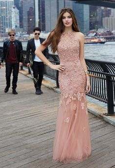 Beaded Lace Dress with Illusion Back from Camille La Vie and Group USA #prom #dress #dresses