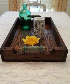 Medium Reclaimed Dark Stained Pallet Wood Serving Tray With Turquoise Handles