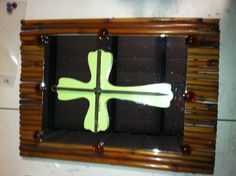 Upcycled handmade Wall hanging.  Made from bamboo, added mirror and wood cross with rustic metal cross.  Clear brown stone accents. $20.00