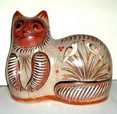 VINTAGE MEXICAN CAT Tonala pottery large vg condition by LizAArt, $50.00
