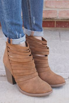 Tan Strappy Faux Suede Round Toe Ankle Booties Kelly-S – UOIOnline.com: Women's Clothing Boutique