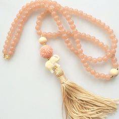 Light pink Tassel Necklace. Mala long beaded necklace. Bohemian elephant summer…