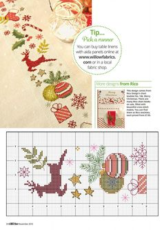 Festive Table Runner From Cross Stitch Collection N°268 November 2016  2 of 4
