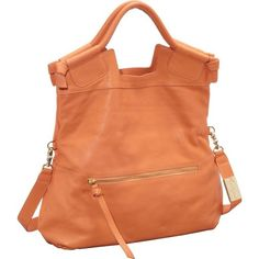 """Sale: $264.09   Foley + Corinna Mid City Convertible Tote   Color: Peach   Leather, Cotton lining, Magnet closure, 37"""" shoulder drop, 15"""" high, 15"""" wide, Handle has a drop of 5"""" and a length of 10"""","""