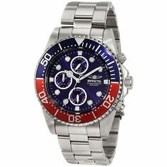 Invicta 1771 men's Pro Diver stainless steel blue dial chronograph dive watch carries a case diameter of and a case thickness of Featured on. Invicta Watches Pro Diver, Invicta Pro Diver Chronograph, Stainless Steel Watch, Stainless Steel Bracelet, Coca Cola, Brand Name Watches, Watch Model, Watch Sale, Casio Watch