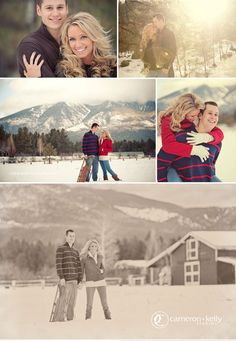 engagement session in the winter with snow, sled, mountains, gloves -