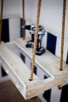 Homemade Hanging Pallet-Bench