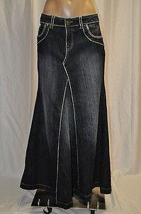 Solid Denim Maxi Skirt | Apostolic clothing