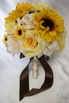 "17 Pieces Package Silk Flower Wedding Decoration Bridal Bouquet Sunflower YELLOW IVORY ""Lily Of Angeles"". $189.99, via Etsy."