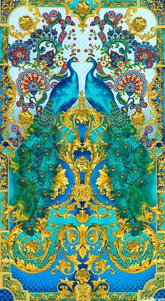 "Natural, Bronze, Turquoise, Indigo, Mallard Green, Fuchsia, Powder Blue This gorgeous eye-popping panel features mirror images of 2 large peacocks, with Florentine swirls and Paisley flowers set in a fabulously ornate frame. 24"" panel, from the 'Hyde Park' collection by Timeless Treasures."