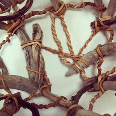 Lina Jane Prairie woven sculpture made with kelp seaweed and driftwood.