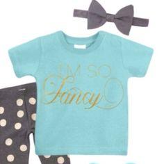 I'm so Fancy infant tee and grey polka dot leggings for Dot.