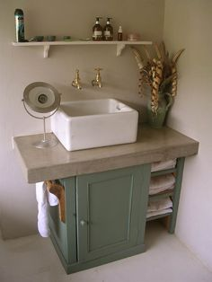 Shaker Style sink unit hand painted farrow and ball belfast butler sink free standing freestanding bespoke cornwall interiors polished concrete worktops worktop eclectic rustic southwest - like this look for our downstairs bathroom. Bathroom Sink Units, Small Bathroom, Design Bathroom, Neutral Bathroom, Bathroom Beadboard, Bathroom Pink, Bad Inspiration, Bathroom Inspiration, Style Shaker