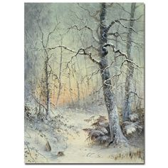 "Trademark Fine Art ""Winter Breakfast"" by Joseph Farquharson Painting Print on Canvas"