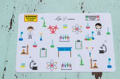 This set includes 29 assorted science stickers. They range from 1/2 tall to 1 tall.  They are printed on matte sticker paper. Plans are never