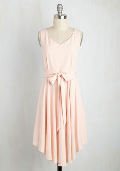 The Dancer to Your Questions Dress in Blush. The arrival of this pink, ModCloth-exclusive dress into your life puts an end to your ponderings over the perfect frock. #blush #modcloth