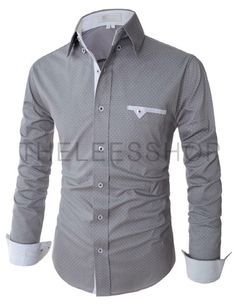 Rrive Mens Print Vogue Long Sleeve Casual Slim Fit Buttons Down Shirts