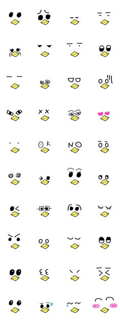 The feeling comes only with eyes! Emoticon, Emoji, Doodle Paint, Note Doodles, Kawaii Faces, Kawaii Doodles, Mascot Design, Simple Illustration, Cartoon Faces
