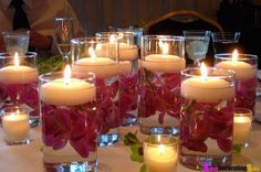 Valentine's Day Dinner Party Floating Candles Centerpiece