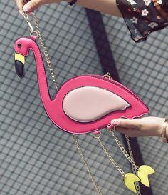 Bolsa Divertida modelo Flamingo tamanho: 23 cm * 13 cm * 6 cm Material: Couro Sintético PU Bolsa com Alça de corrente