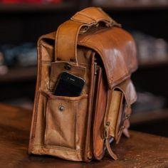 Vintage and Authentic Camel Leather Laptop Messenger Bag - Buffalo Jackson Trading Co.-SR