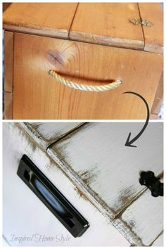 Simple tutorial on how to distress furniture ~ Wooden chest before and after Distressed Furniture, Painted Furniture, Wood Chest, Painting Wallpaper, Inspired Homes, Cozy House, Painting On Wood, Diy Tutorial, Crates