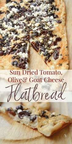 Thin crust flatbread topped with sun dried tomatoes, Kalamata olives, fresh basil, Mozzarella and Goat cheese is perfect as an appetizer or dinner. #flatbread #pizza #appetizer #dinner #gameday Flatbread Toppings, Goats Cheese Flatbread, Goat Cheese Pizza, Flatbread Recipes, Pizza Recipes With Goat Cheese, Flatbread Appetizers, Cheese Recipes, Appetizer Recipes, Cooking Recipes