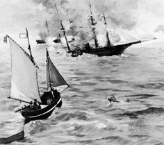 Édouard Manet,[(born January 23, 1832,Paris, France—died April 30, 1883,Paris),French painter]. Battle between the Confederate blockade runner Alabama and the Union's Kearsarge in the harbour of Cherbourg, Fr.; detail from a painting by Édouard Manet (1832–83)