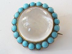 Antique Victorian Genuine Rock Crystal Locket Brooch with faux turquoise