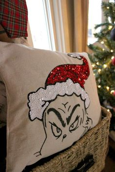 Check out this awesome Grinch Pillow--a Pottery Barn Knock Off! Grinch Christmas Decorations, Grinch Christmas Party, Grinch Party, Christmas Crafts To Make, Christmas Sewing, Christmas Projects, Winter Christmas, Christmas Ornaments, Ornaments Ideas