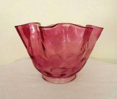 1 of 2 Cranberry Glass Oil Kerosene Lamp Shade Banquet GWTW Chandelier Light Fixture