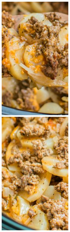 Slow Cooker Beef and Potato Au Gratin ~ An easy from scratch hearty meal! Hamburger Potato Soup, Dinner Ideas Hamburger Meat, Slow Cooker Hamburger Recipes, Beef Dinner Ideas, Easy Hamburger Meat Recipes, Easy Dinner Meals, Slow Cooker Recipes Cheap, Beef Potato Casserole, Easy Dinner Recipies