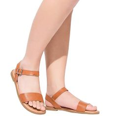 4cb974ca4ed Women s Wide Summer Flat Sandals - Open Toe One Band Ankle Strap Flexible  Brown
