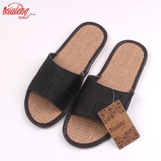 New 2016 Famous Brand Casual Men Sandals Summer Leather Linen Slippers Summer Shoes  Flip Flops Fast Shipping #CLICK! #clothing, #shoes, #jewelry, #women, #men
