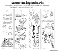 Encourage summer reading with this Lakeshore printable that features 4 summer-themed bookmark designs students can color any way they like!