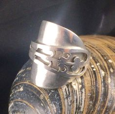 Silver Spoon Ring - Crafted from a Pierced Sterling Silver Coffee Spoon - Hallmarked SpoonRing - Fleur-de-lys - Handmade by Adrift Crafts by AdriftCrafts on Etsy