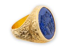 Lapis Sun God Ring Hand Carved Natural Stone And Oak Leaves Gold Plated Sterling Silver Chassis 925 by Regnas on Etsy Greek Sun God, Jewelry Model, Black Rings, Gold Rings, Hand Carved, Rings For Men, Sterling Silver, 925 Silver, Rpg