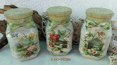 Decoupage Glass, Decoupage Ideas, Cottage Art, Altered Bottles, Bottle Crafts, Mason Jars, Diy, Vintage, Home Decor