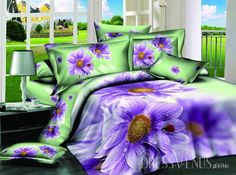 US$118.99 Brilliant 4 Piece Cotton Bedding Sets with Purple Color Flower Pattern. #3D #Color #with #Cotton